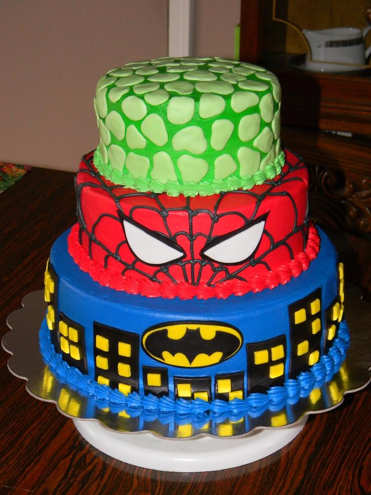 Averys Birthday cake idea!! :)  Batman, Spiderman and Hulk cake