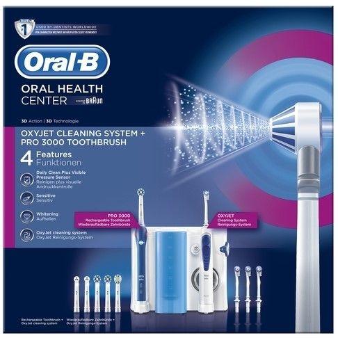 Oral-B OxyJet Monddouche  PRO3000 Elektrische Tandenborstel  Het Oral-B OxyJet Center is een op tandartsen geÃnspireerd mondverzorgingssysteem voor een uitstekende reiniging tandvleesverzorging wittere tanden en frisse adem. Het poetst uitstekend Ãn biedt het ongelooflijke comfort van een monddouche voor een diepgaande grondige reiniging een zachte tandvleesmassage en een boost van frisheid om tandplakbacteriÃn te bestrijden.  Het OxyJet reinigingssysteem verrijkt het water met microbubbels…