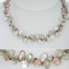Keshi Pearl & Gem Stone Necklace