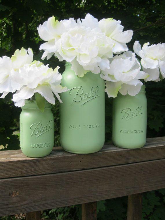 Mint Green Painted Mason Jar -- Set of 3 Shabby Chic Vases in half gallon, quart & pint sizes -- wedding decor on Etsy, $22.00