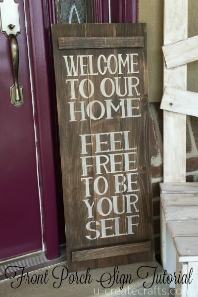One of my favorite things from my front porch makeover is the welcome sign I made. It's a simple and easy DIY project that makes a big impact. Supply List: Foam brushes (one for paint; one for stain)