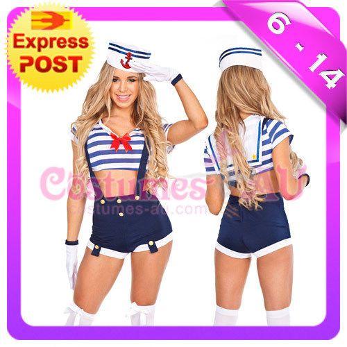 Girls-Sailor-Uniform-Navy-Costume-50s-1950s-Rockabilly-Pin-Up-Fancy-Dress-Up-Hat