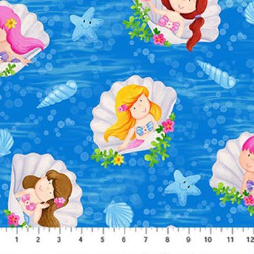 For Little Ones : Little Mermaids Shells Starfish Fabric