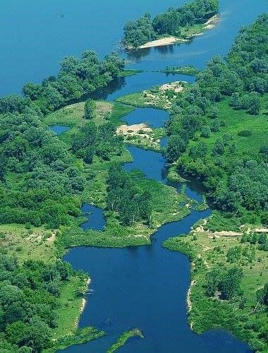Small islands on the Vistula River in the vicinity of Wloclawek. Poland