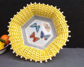 1960's woven Fruit or Bread Basket with Butterfly's