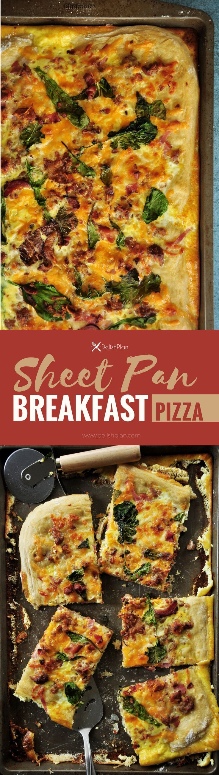 Sheet pan breakfast pizza recipe incorporates your favorite breakfast ingredients like bacon and eggs, plus onions and greens for a balanced one-pan meal.