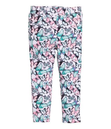 White/patterned. Treggings in thick jersey with an elasticized waistband, mock…