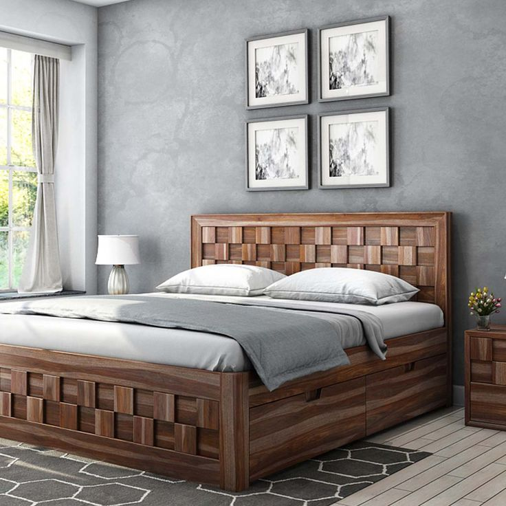 Checkered Solid Wood California King Size Captains