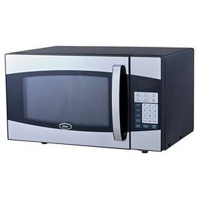 The size and contemporary style of this microwave is perfect for any countertop, dorm room or home entertainment area. With 6 pre-set menus and 10 power levels, cooking and re-heating is simple. Additional features include a child lock, digital display, time and auto defrost and a kitchen timer.