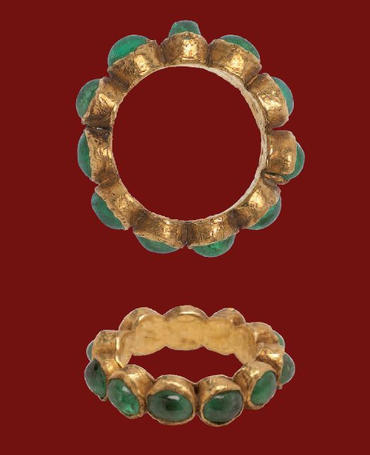 Love thinking of the people who wore it - Gold Ring Set with Emeralds  Roman, 4th- 5th century