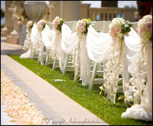 LOVE this for pew ends at the church!!! can be transferred to reception site to put on the back of the wedding party's chairs