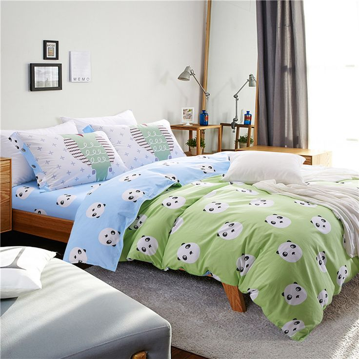 100% cotton kids or adult cartoon blue and green bed set panda duvet cover bed sheet pillowcase set full queen size bedding set //Price: $44.44 & FREE Shipping //     #bedding sets