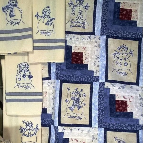 8 Snowmen Designs to embroider on Tea Towels for your kitchen OR make them into a fun Winter Quilt to decorate your winter home....very cheerful quilt for dreary days!