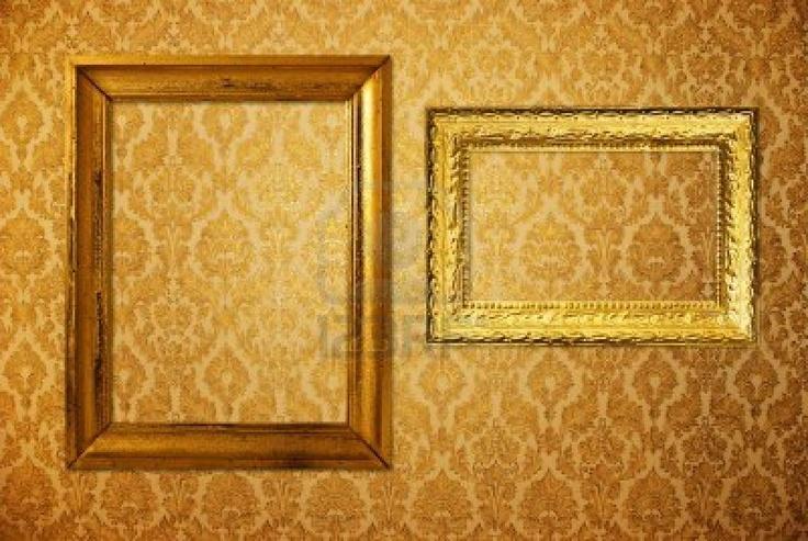 Vintage marco sobre papel tapiz de oro  Foto de archivo - 7431232