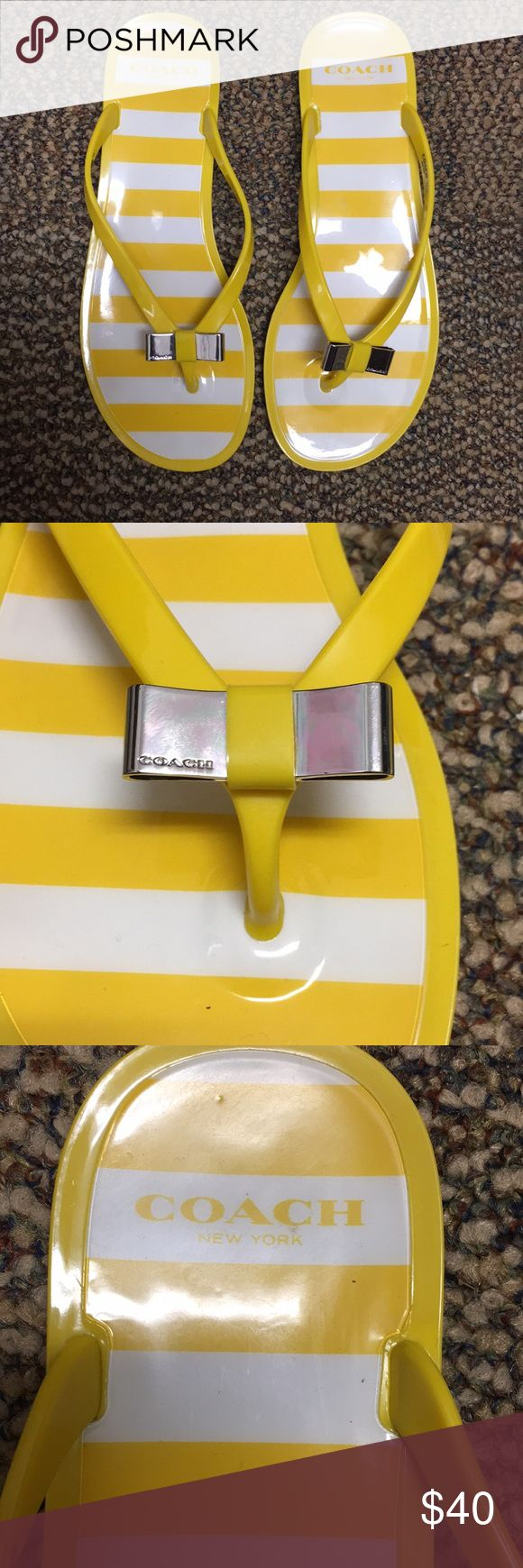 Coach Jelly Flip Flops Barely worn jelly yellow flip flops with little metal bow tie Coach Shoes Sandals
