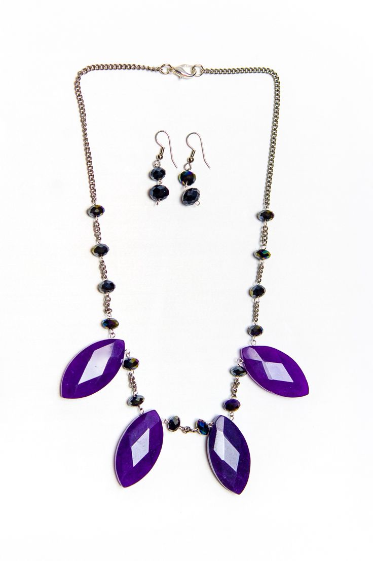 Purple Wired Beaded Earrings With Matching Necklace