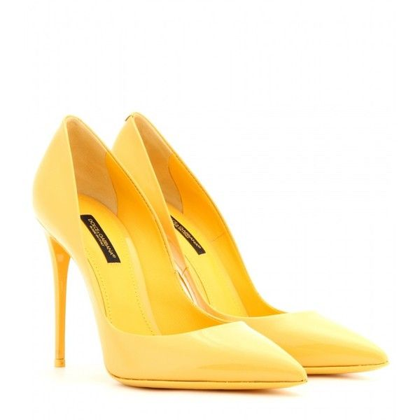 Dolce & Gabbana Kate Patent-Leather Pumps ($465) ❤ liked on Polyvore featuring shoes, pumps, heels, sapatos, zapatos, yellow, yellow shoes, yellow patent leather pumps, yellow heels pumps and dolce gabbana pumps