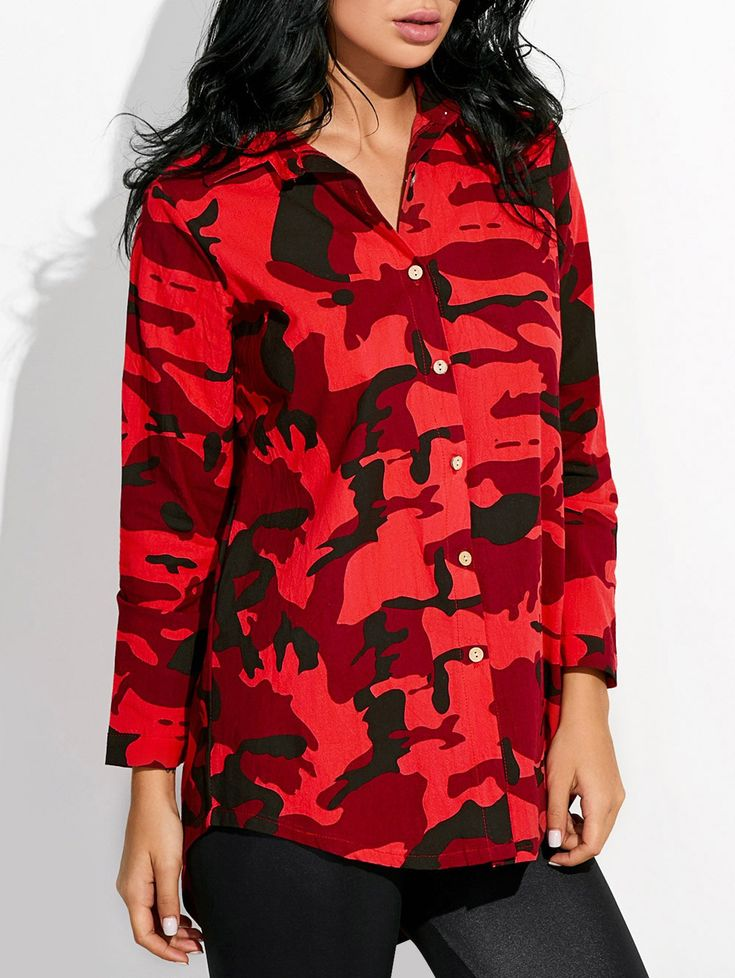 Womens Camo Shirt - RED