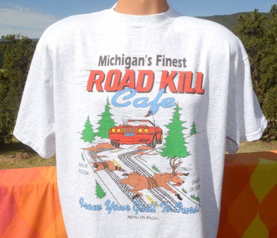 0d5ed9d65 vintage 90s t-shirt ROADKILL cafe michigan restaurant road kill funny tee  Large XL