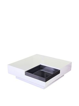 Fox Hill Trading Co. White with Dark Gray Accent Coffee Table with Tray
