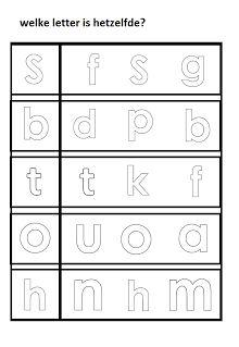 Werkblad taal - welke letter is hetzelfde?