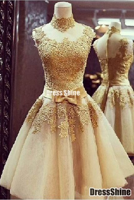 Gorgeous Handmade Flower Gold Short Vintage Formal Dress - Sweet 16 Dresses - Homecoming | Cocktail | Party