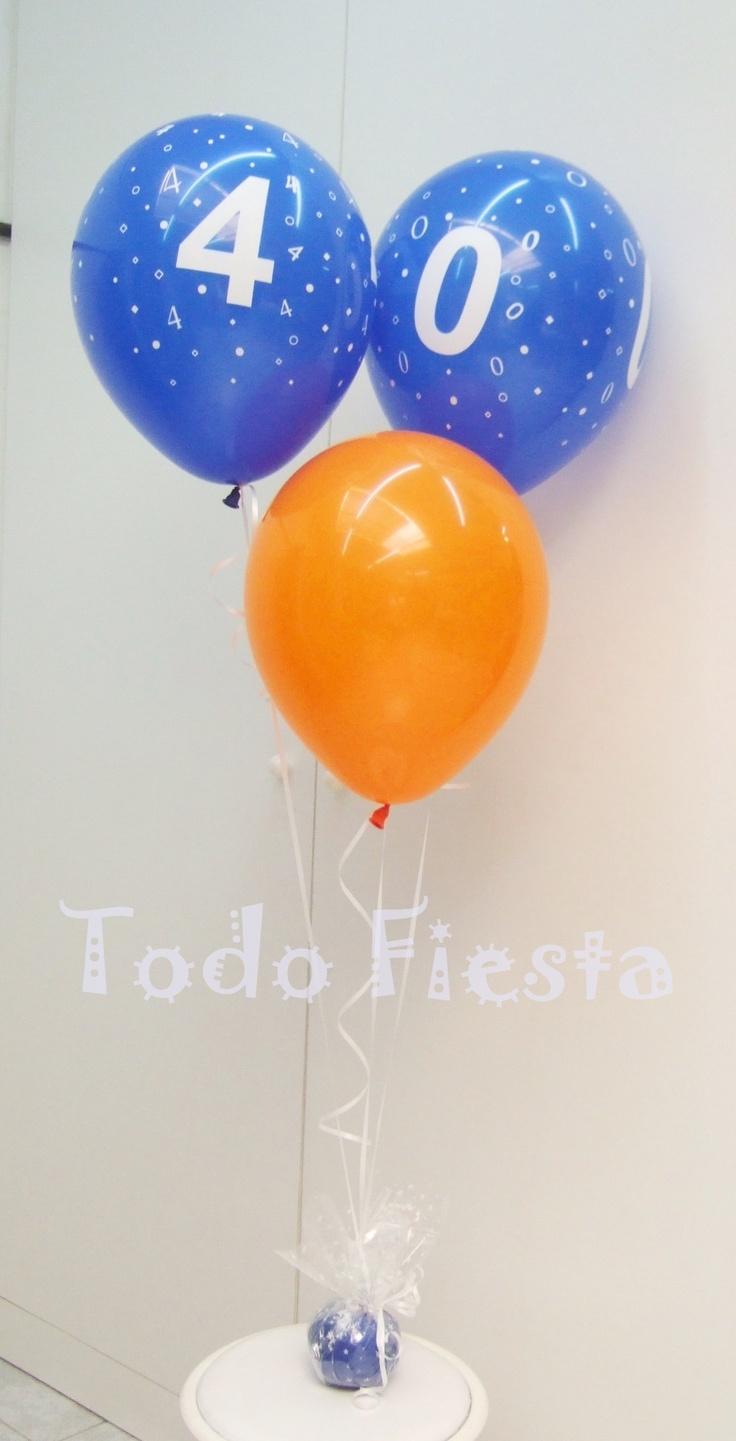 Centro de globos para 40 cumpleaños