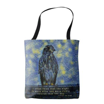 A Hawk Bird on a Roof on a Starry Night Tote Bag  $32.30  by StephStephanieSteph  - cyo diy customize personalize unique