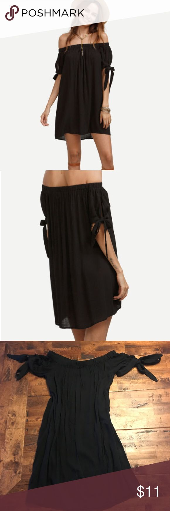 Off shoulder swimsuit cover up dress NWOT Off shoulder dress with sleeve ties. It is not lined so I suggest using it as a swimsuit cover up :) never worn Dresses Mini