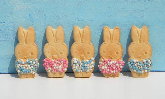 Nijntje geboorte koekjes. Nodig: Bolletje Nijntje dreumesbiscuits, witte chocola of glazuur. Muisjes roze/wit of blauw/wit. Folie, Lintje + Kaartje.  Werkwijze: Smelt de chocola au bain-marie of in de magnetron. Smeer de t-shirt van Nijntje in met de glazuur/chocola en strooi hierover de muisjes. Laat het glazuur/chocola stollen. Verpak de koekjes in folie en sluit het met een lintje en kaartje.