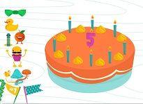 Drie verjaardagstaarten op het digibord