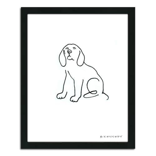 Beagle Line Drawing Framed Wall Art In 2020 Dog Line Drawing Drawing Artwork Dog Line