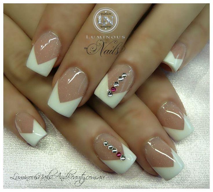 #V French #pink and white #rhinestones . nail embellishments