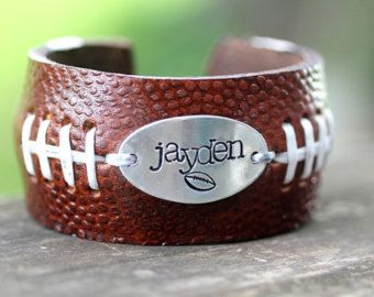 FOOTBALL FANS  Football  Bracelet with Handstamp of jersey number or Name