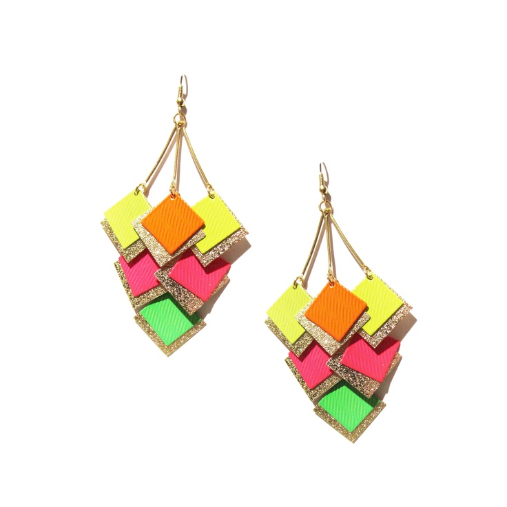 Perfect splash of colorPantone Neon, Style, Colors Fun, Jewelry, Squares Earrings, Accessories, Accesories, Earrings Retail, Neon Earrings