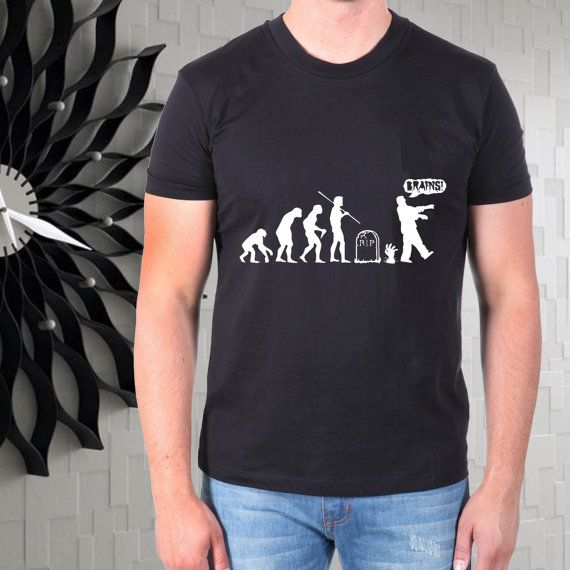 zombie human evolution horor haloween men tshirt  size by gajeshop
