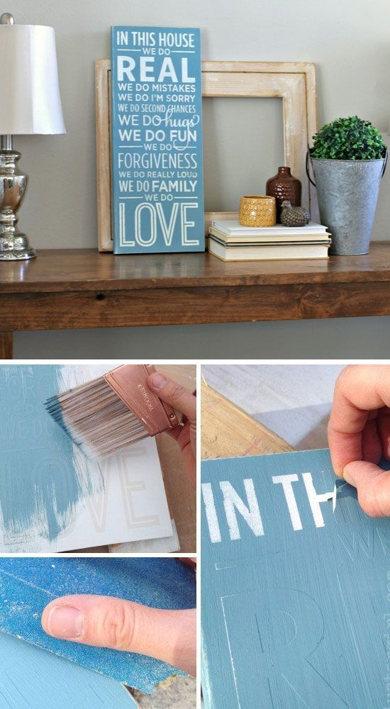 Wood Sign Tutorial   Click Pic for 25 DIY Home Decor Ideas on a Budget   DIY Home Decorating on a Budget by Macarena Kreps