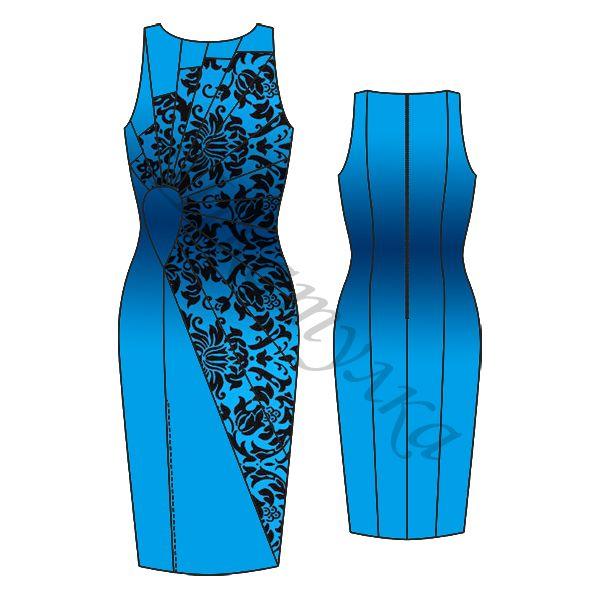 free pattern size 42 - 50 and 56 - Выкройка платья с асимметричными вставками