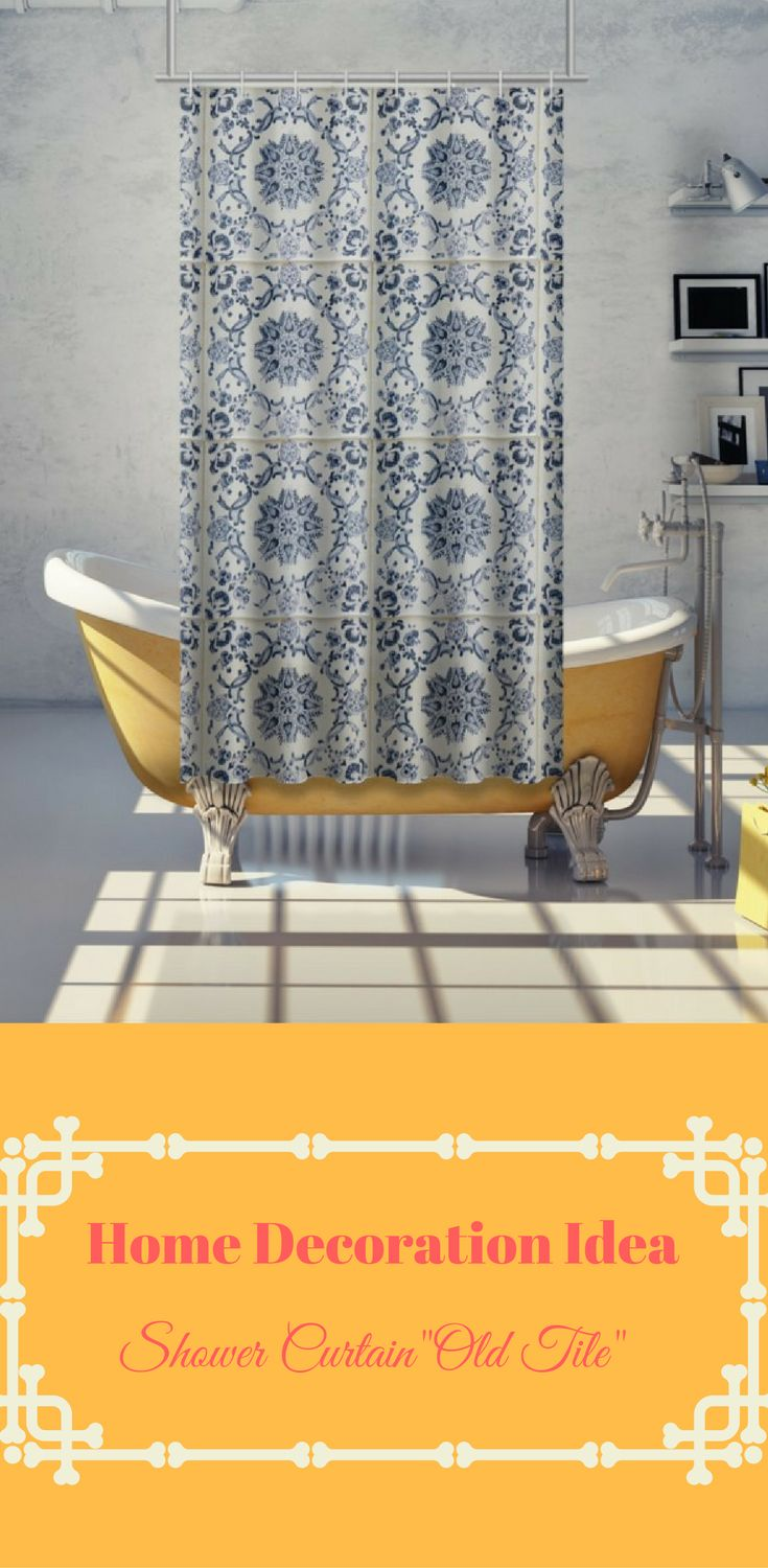 "Home Decoration Ideas: Bathroom inspiration - the shower curtain ""Old Tile"" brings vintage flair and old-world charm right to your home! https://www.contrado.co.uk/stores/peartreepond/for-the-home/shower-curtain---old-tile-56306"