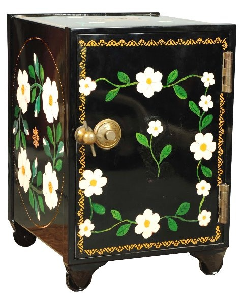 March 30th Auction. From the Guy Zani Jr. Safe Collection: Meilink Antique Safe. Circa 1902. Safe has a fitted wood interior with two drawers. It has a working combination lock door with screw type handle. Weighs approximately 185 pounds. #Meilink #AntiqueSafe #GuyZani #MorphyAuctions