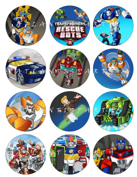 Rescue Bot Cake, Bots Cupcake, Transformers Rescue, Favor Tags