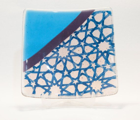 Turquoise blue fused glass concave plate by AtelierThalia on Etsy