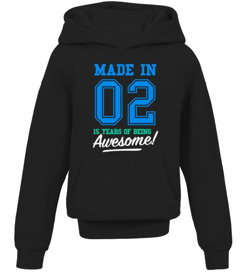 CHECK OUT OTHER AWESOME DESIGNS HERE! Made in 02, 15 years of being awesome! This boy was Made in 2002 tee. This boy has 15 years old. 15th anniversary gifts, 15th anniversary shirts, 15th birthday boy, 15th birthday shirts for boys, teen shirts for boys, teens clothing. Perfect shirt for young boys at age of 15. Cool and funny vintage college sports old school style t-shirt design for kids, ideal as a present for fifteen year olds. Birthday gifts for girls, for mother and father. ...