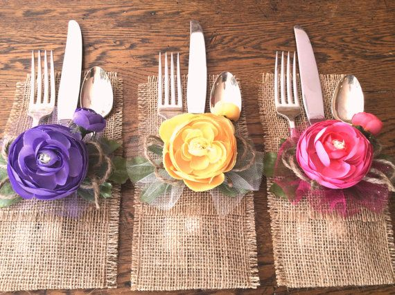 Spring Flowers Burlap Silverware Holder's Mother's by CrafTeaCafe, $18.00