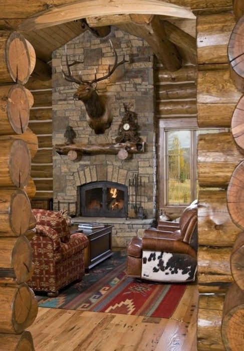 153 best images about home is where the hearth is on for Log cabin fireplace designs