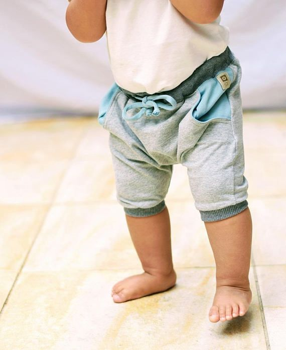 Organic Harem Shorts with pockets (0-6 yrs) - LIGHT GREY MARL