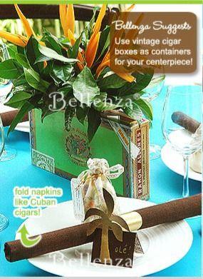 Hot Havana Nights~ Cigar box centerpiece for the men to enjoy  @WedFunApps wedfunapps.com ♥'d