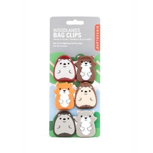 Kikkerland Woodland Animals Bag Clips - Set Of 6