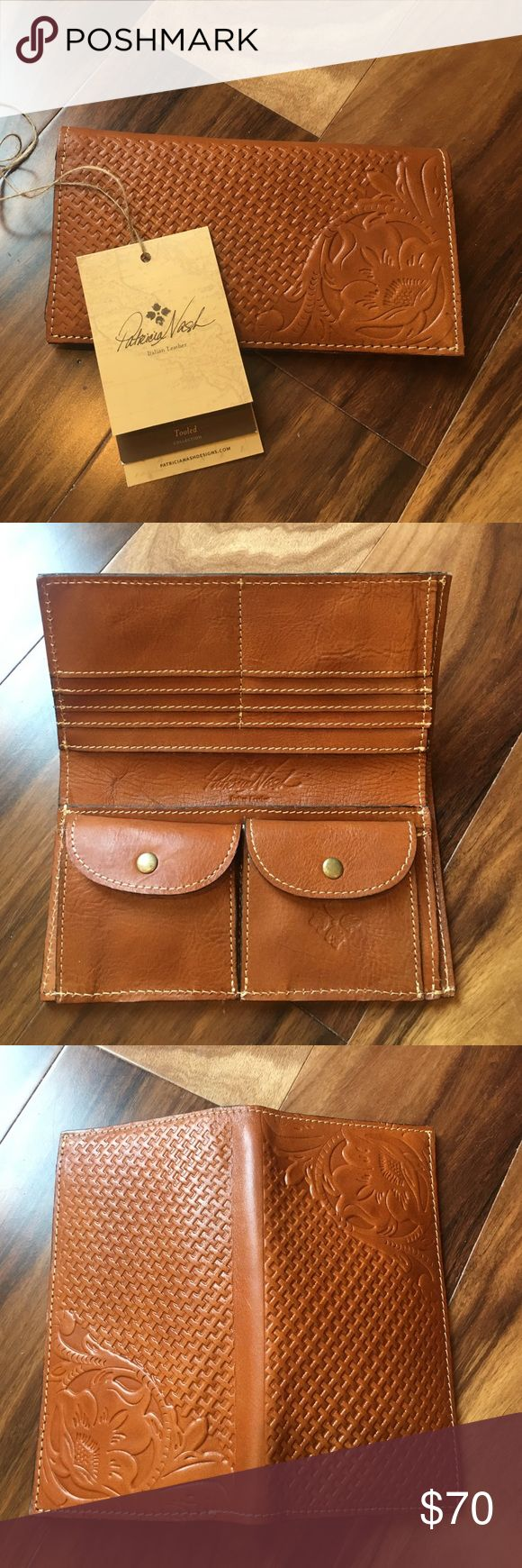 """NWT Patricia Nash Italian Leather Wallet NWT Italian Leather bifold wallet by Patricia Nash. Beautiful tooled rose design on front and back. 8 internal slots for cards, 2 larger bill slots, and 2 snap closure pockets. Measures 7 5/8"""" x 4"""" x 7/8"""" when folded shut empty. I have one of her handbags and the leather wears beautifully! Patricia Nash Bags Wallets"""
