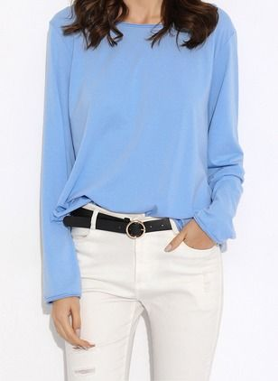 5ce53afda28bf0 Solid Casual Cotton Round Neckline Long Sleeve Blouses